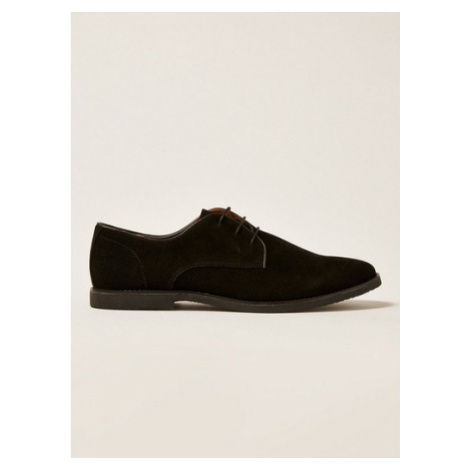 Mens Black Faux Suede Spark Desert Shoes, Black Topman