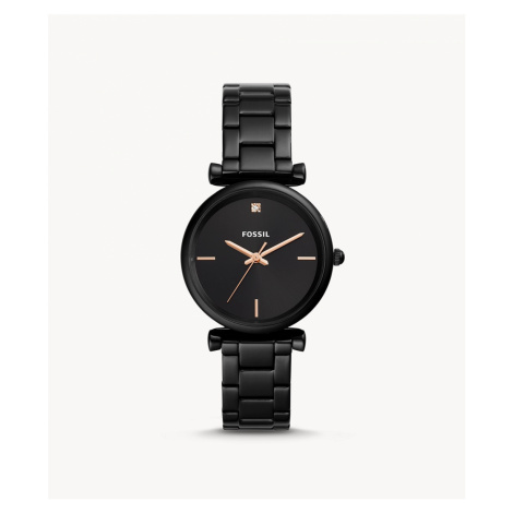Fossil Women's Carlie Carbon Series Three-Hand Black Stainless Steel Watch