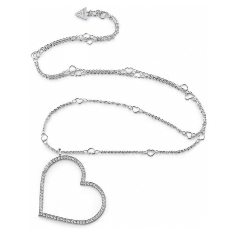 "GUESS rhodium plated 31"" long necklace with Swarovski® crystal pavè heart frame charm."