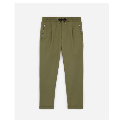 The Kooples - Khaki loose cotton trousers with elastic - MEN