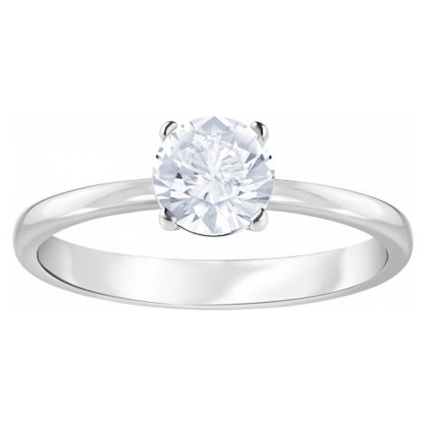 Attract Ring, White, Rhodium plated Swarovski