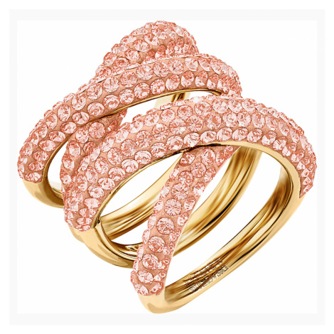 Tigris Wide Ring, Pink, Gold-tone plated Swarovski