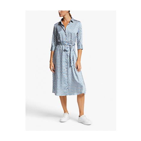 Marella Mendoza Belted Chain Print Shirt Dress, Periwinkle Blue