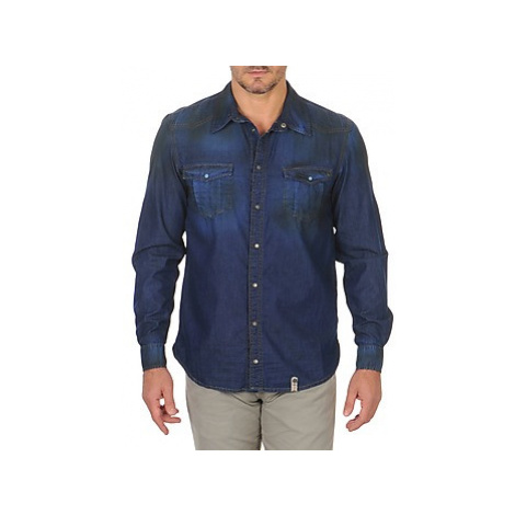Freeman T.Porter CORWEND DENIM men's Long sleeved Shirt in Blue Freeman T. Porter