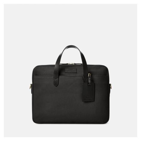 Polo Ralph Lauren Men's Leather-Trim Canvas Commuter Business Case - Black