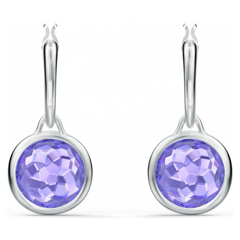 Tahlia Mini Hoop Pierced Earrings, Purple, Rhodium plated Swarovski