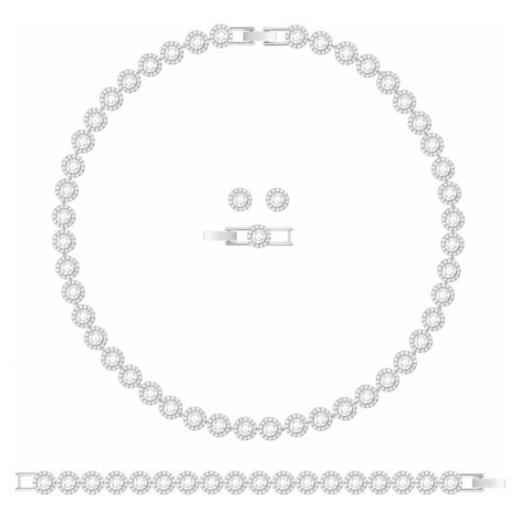 Angelic Necklace Set, White, Rhodium plated Swarovski