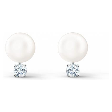 Treasure Pearl Pierced Earrings, White, Rhodium plated Swarovski