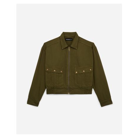 The Kooples - Cotton khaki rock-style jacket w/pockets, zip - WOMEN The Kooples Sport