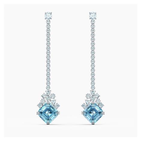 Sparkling Linear Pierced Earrings, Aqua, Rhodium plated Swarovski
