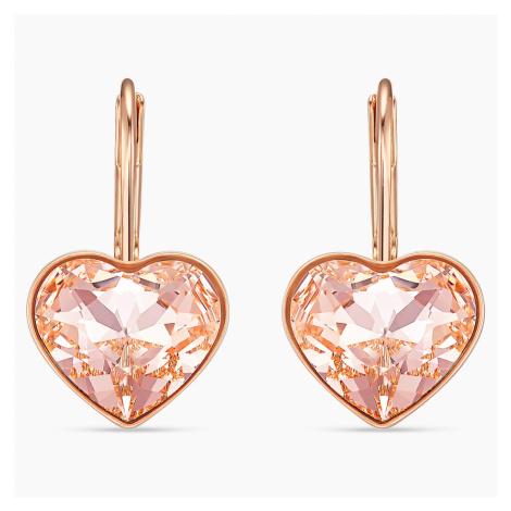 Bella Heart Pierced Earrings, Pink, Rose-gold tone plated Swarovski