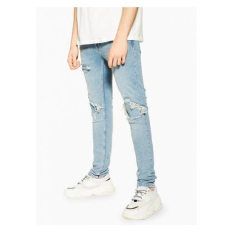Mens Blue Indigo Biker Blowout Skinny Jeans, Blue Topman