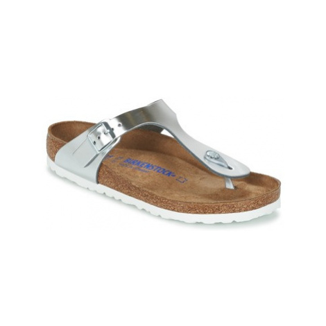 Birkenstock GIZEH SFB women's Flip flops / Sandals (Shoes) in Silver