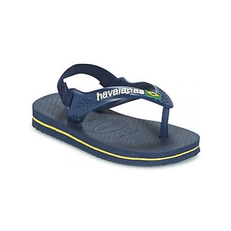 Havaianas BABY BRASIL LOGO boys's Children's Flip flops / Sandals in Blue