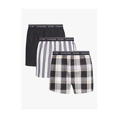 Calvin Klein Cotton Boxers, Pack of 3, Black/Check/Stripe