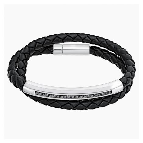 Gesture Bracelet, Leather, Grey, Stainless steel Swarovski