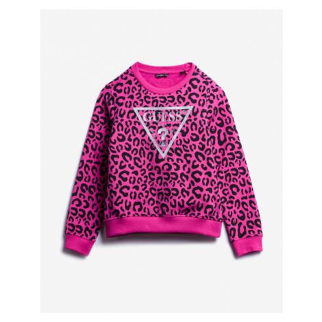 Guess All Over Print Logo Kids Sweatshirt Pink