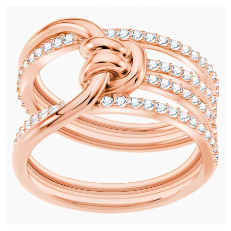 Lifelong Wide Ring, White, Rose-gold tone plated Swarovski