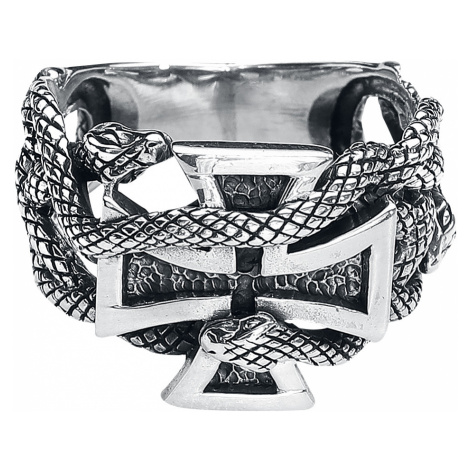 EtNox - Iron Cross With Snakes - Ring - silver-coloured