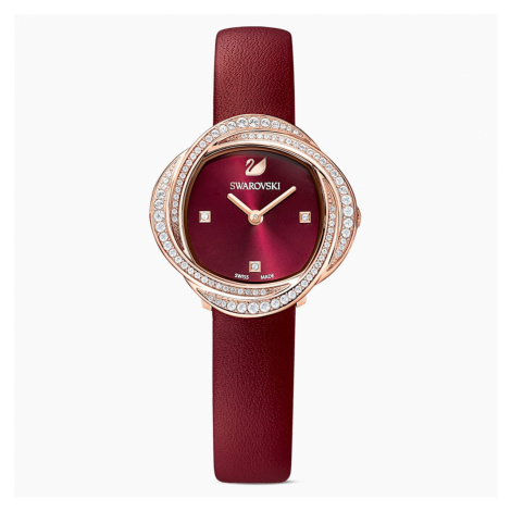 Crystal Flower Watch, Leather strap, Red, Rose-gold tone PVD Swarovski