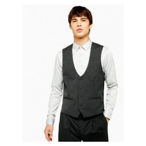 Mens Grey Slim Fit Five Button Suit Waistcoat, Grey Topman