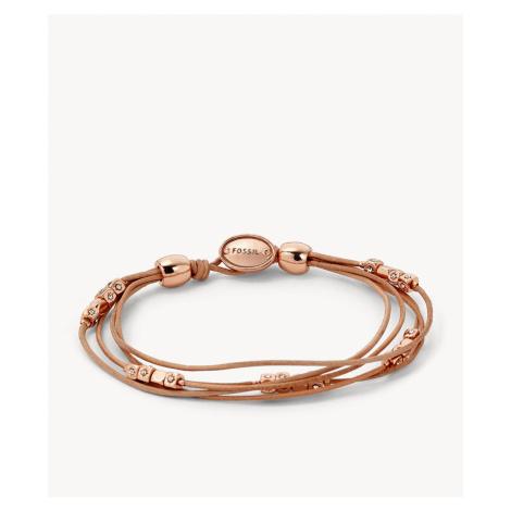 Fossil Women's Multi-Strand Wrist Wrap Tan - Brown Rose Gold