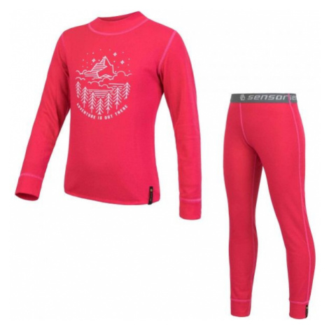 Sensor DF SET GIRLS pink - Girls' set of base layers