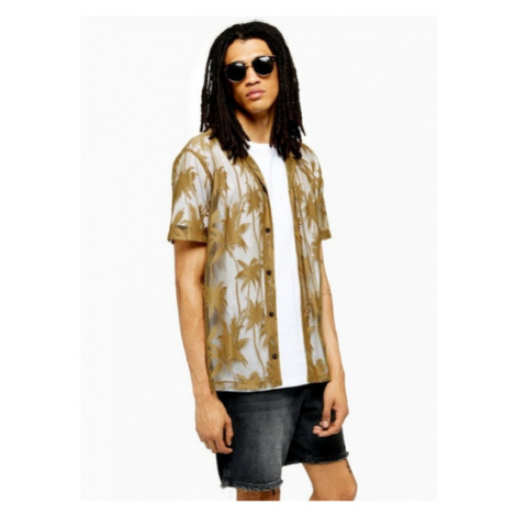 Mens Brown Gold Knitted Palm Revere Shirt, Brown Topman