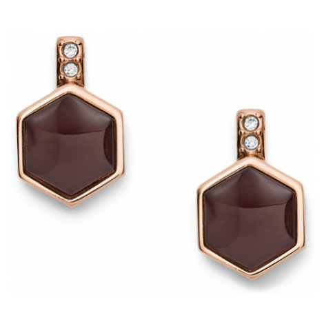 Fossil Women Hexagon Rose Gold-Tone Stainless Steel Earrings - One size