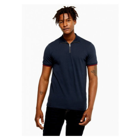Mens Selected Homme Navy Zip Chip Organic Cotton Polo Shirt, Navy