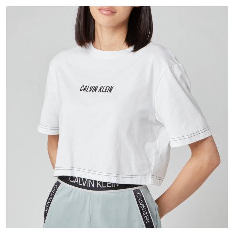 Calvin Klein Performance Women's Open Back Cropped Short Sleeve T-Shirt - Bright White