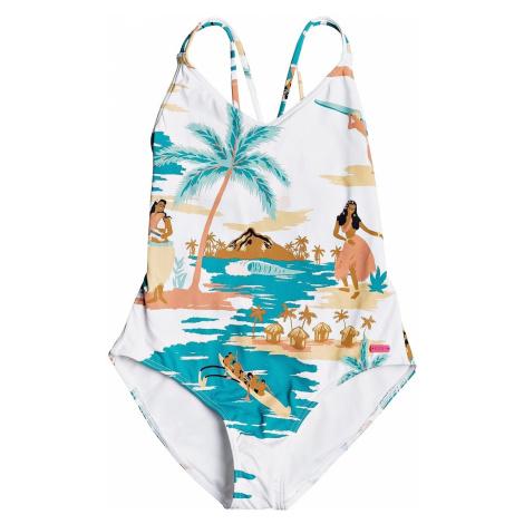 swimsuit Roxy Love Waimea One Piece - WBB5/Bright White Honolulu Big S - girl´s