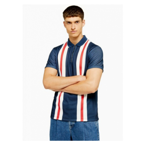 Mens Navy And Red Stripe Bowling Polo, Navy Topman