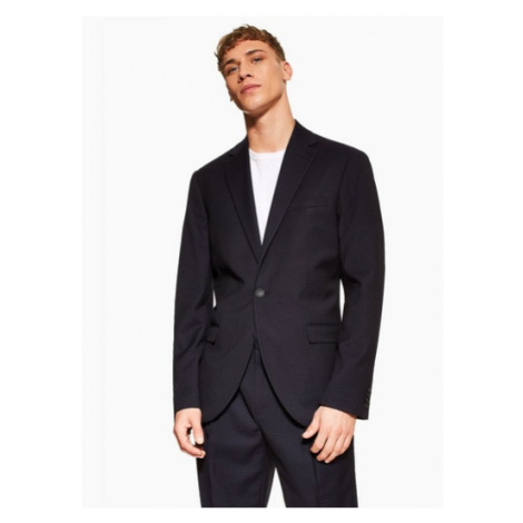 Mens Navy Slim Fit Pindot Single Breasted Suit Blazer With Notch Lapels, Navy Topman
