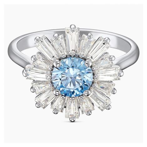 Sunshine Ring, Blue, Rhodium plated Swarovski