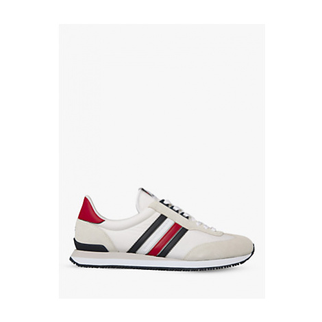 Tommy Hilfiger Low Mix Runner Stripes Trainers, White/Primary Red