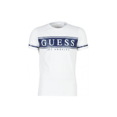 Guess CN SS BANNER TEE men's T shirt in White