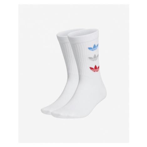 adidas Originals Tricolor Thin Ribbed Crew Set of 2 pairs of socks White