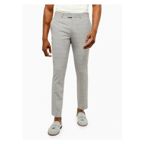 Mens Grey Check Trousers With Yellow Highlight, Grey Topman